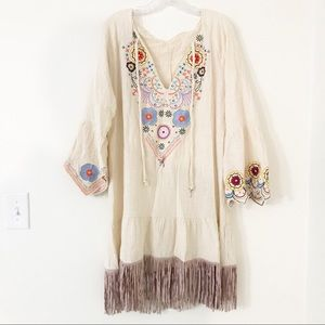 Embroidered Hippie Dress w/ Faux Suede Fringe   XL